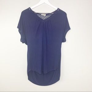 Meadow Rue Navy Blue High Low Short Sleeve Top